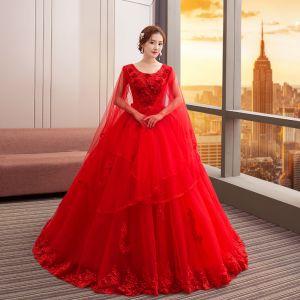 Chic / Belle Rouge Robe De Mariée 2018 Robe Boule En Dentelle Fleur Perle Paillettes Encolure Dégagée Manches Longues Cathedral Train Mariage