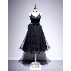Fashion Black Homecoming Spotted Little Black Dress 2020 A-Line / Princess Spaghetti Straps Suede Bow Sleeveless Backless Tea-length Graduation Dresses