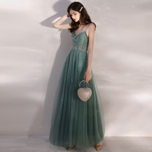Elegant Green Evening Dresses  2020 A-Line / Princess Spaghetti Straps Sleeveless Beading Pearl Rhinestone Floor-Length / Long Ruffle Backless Formal Dresses