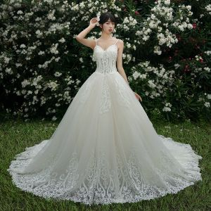 Chic / Beautiful Champagne Wedding Dresses 2019 A-Line / Princess Spaghetti Straps Beading Rhinestone Lace Flower Sleeveless Backless Cathedral Train