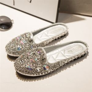 Sparkly Silver Slipper 2018 Rhinestone Crystal Round Toe Womens Shoes