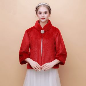 Red Winter High Neck Long Sleeve Faux Fur Prom Evening Party Wedding Coats / Jackets 2017
