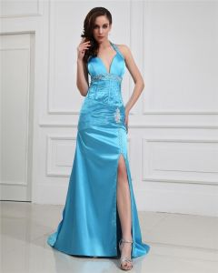 Sheath Halter V-Neck Empire Waist Floor-Length Evening Dress