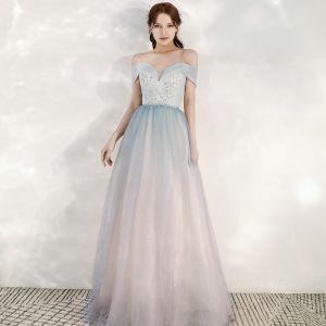Charming Sky Blue Gradient-Color Blushing Pink Evening Dresses  2020 A-Line / Princess Off-The-Shoulder Short Sleeve Backless Glitter Tulle Floor-Length / Long Ruffle Formal Dresses
