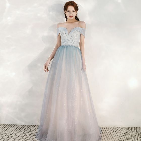 Charming Sky Blue Gradient-Color Blushing Pink Evening Dresses  2020 A-Line / Princess Off-The-Shoulder Short Sleeve Backless Glitter Tulle Floor-Length / Long Ruffle Formal Dresses