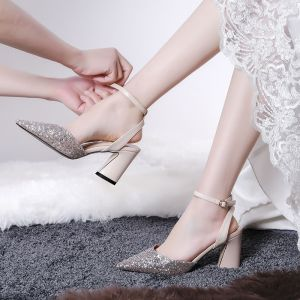 Chic / Beautiful Gold Wedding Wedding Shoes 2020 Glitter Sequins Polyester 7 cm Cocktail Party Evening Party Pointed Toe Womens Shoes