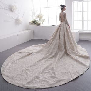 Luxury / Gorgeous Champagne See-through Wedding Dresses 2019 A-Line / Princess Scoop Neck Long Sleeve Backless Beading Cathedral Train Ruffle