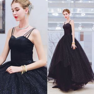 Chic / Beautiful Black Prom Dresses 2019 A-Line / Princess Spaghetti Straps Sleeveless Backless Sequins Floor-Length / Long Formal Dresses
