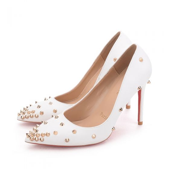 Chic / Beautiful 2017 10 cm / 4 inch Black White Casual Cocktail Party Evening Party Leatherette Shipping in 24 hours Summer Rivet High Heels Stiletto Heels Pumps