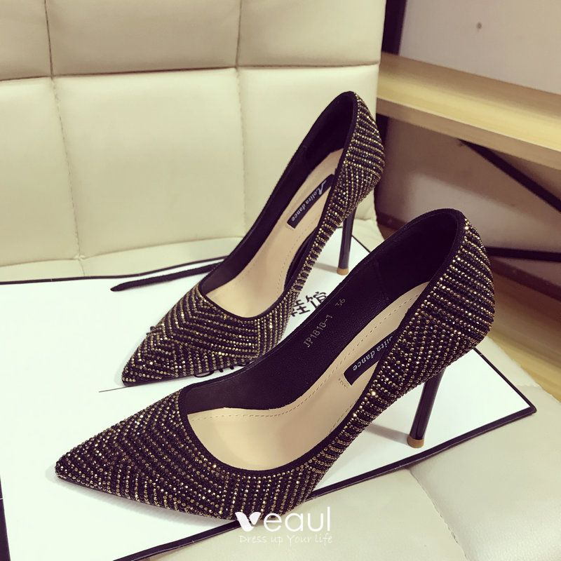 6202e874732 Sparkly Black Gold Evening Party Womens Shoes 2018 Rhinestone 10 cm ...