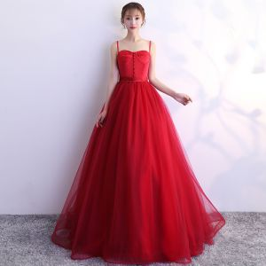 Modest / Simple Red Prom Dresses 2019 A-Line / Princess Spaghetti Straps Backless Floor-Length / Long Formal Dresses
