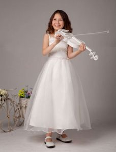 White Spaghetti Beaded Satin Flower Girl Dress