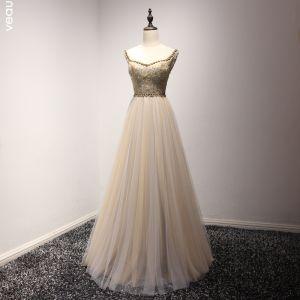 Elegante Champagner Abendkleider 2017 A Linie V-Ausschnitt Charmeuse Applikationen Rückenfreies Perlenstickerei Handgefertigt Abend Festliche Kleider