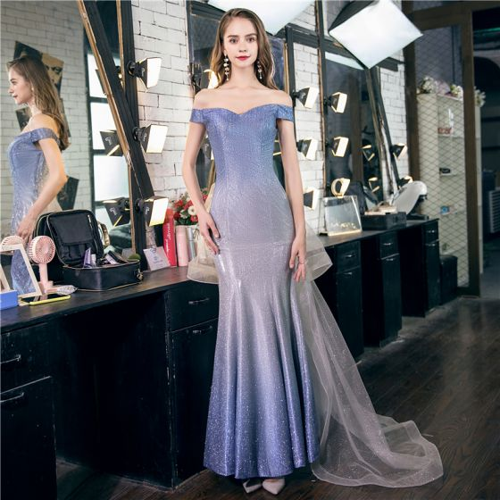 Chic / Beautiful Sky Blue Gradient-Color Evening Dresses  2020 Trumpet / Mermaid Off-The-Shoulder Short Sleeve Glitter Polyester Sweep Train Backless Formal Dresses