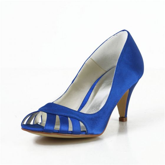 Escarpins Confortable Peep Toe Bleu Satin Chaussures De Mariée