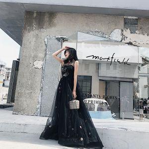 Chic / Belle Noire Robe De Soirée 2018 Princesse Dessin animé Encolure Dégagée Sans Manches Longue Robe De Ceremonie