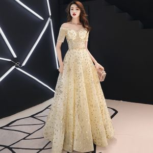 Elegant Gold Evening Dresses  2019 A-Line / Princess Off-The-Shoulder Glitter Sequins Metal Sash Short Sleeve Backless Floor-Length / Long Formal Dresses