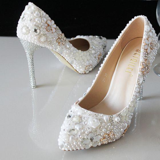 Amazing / Unique White 2018 Wedding Beading Crystal Pearl Rhinestone Wedding Shoes