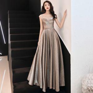Elegant Brown See-through Evening Dresses  2019 A-Line / Princess Scoop Neck Sleeveless Glitter Polyester Rhinestone Beading Floor-Length / Long Ruffle Backless Formal Dresses