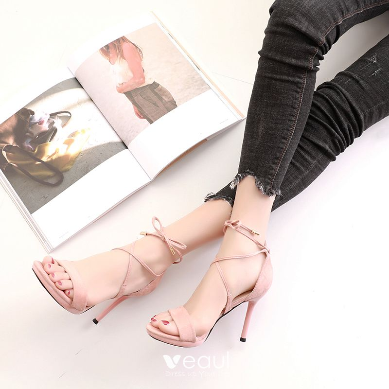 Sexy Prom Pumps 2017 PU Strappy Suede Stiletto Heels Open / Peep Toe Pumps