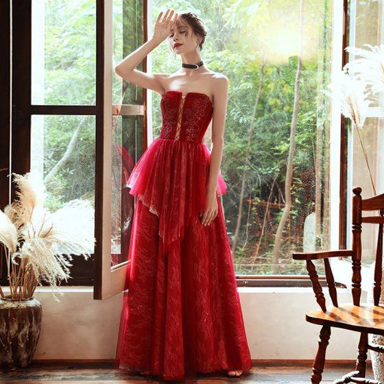 Schöne Rot Spitze Abendkleider 2020 A Linie Herz-Ausschnitt Ärmellos Perlenstickerei Pailletten Lange Rückenfreies Festliche Kleider