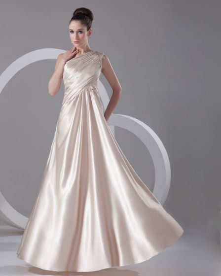 Slopping Ruffle Floor Length Imitation Silk Evening Party Dress