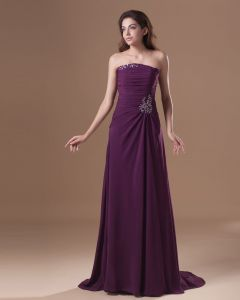 Chiffon Ruffle Beading Strapless Floor Length Bridesmaid Dress