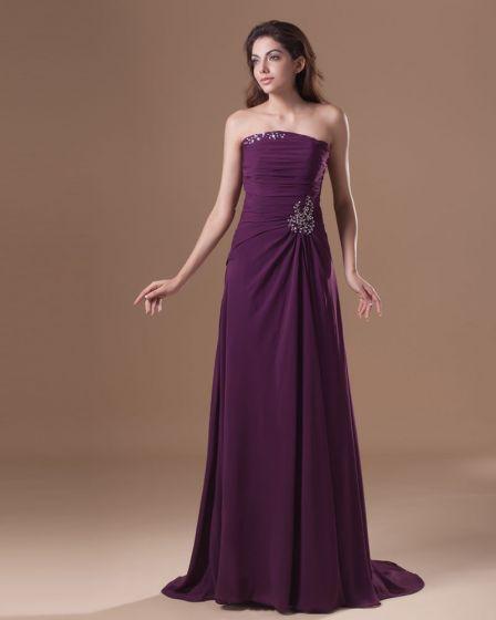 Chiffon Ruffle Beading Strapless Floor Length Bridesmaid Dress