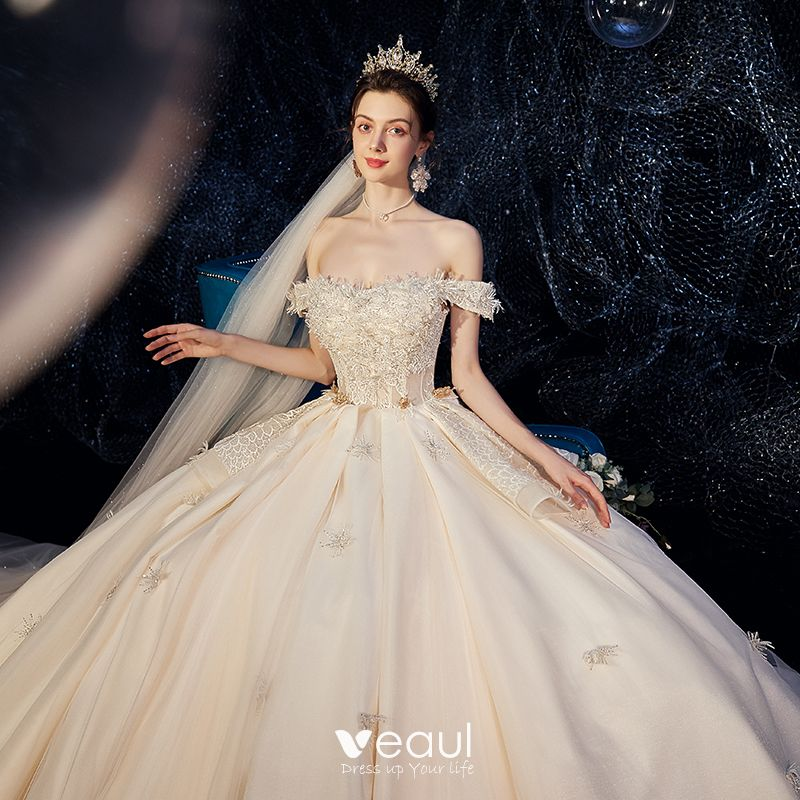 Chic / Beautiful Champagne Wedding Dresses 2020 Ball Gown