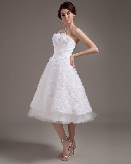 Fashionable Satin Applique Strapless Tea-Length Mini Wedding Dresses ...