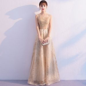 Bling Bling Gold See-through Evening Dresses  2019 A-Line / Princess Scoop Neck Sleeveless Appliques Lace Glitter Tulle Floor-Length / Long Ruffle Formal Dresses