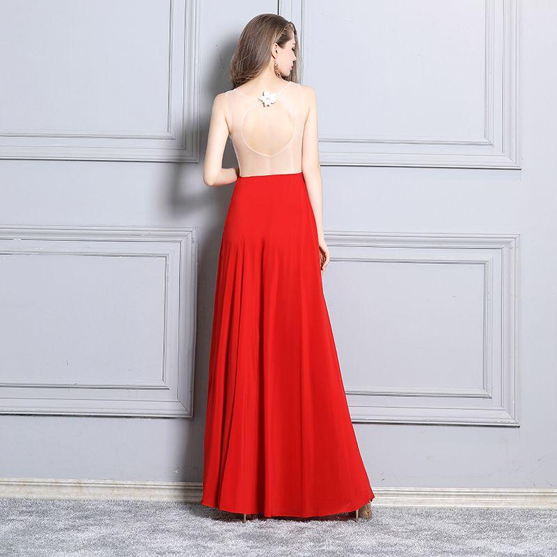 Sexy Rode Avondjurken 2019 A lijn Appliques Kant Rhinestone V-Hals Mouwloos Ruglooze Split Voorzijde Lange Gelegenheid Jurken