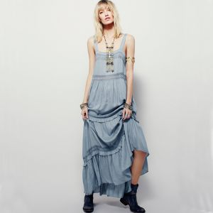 Modest / Simple Sky Blue Casual Maxi Dresses 2019 Ruffle Spaghetti Straps Sleeveless Backless Ankle Length Womens Clothing