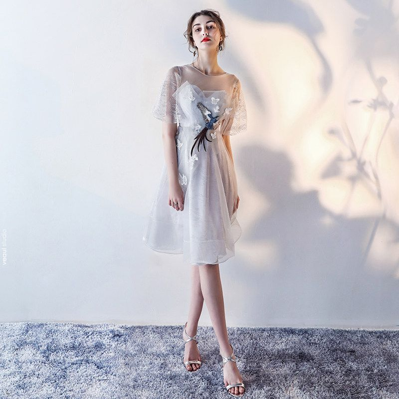 Modern / Fashion Graduation Dresses Party Dresses 2017 Silver Scoop Neck 1/2 Sleeves Lace Appliques A-Line / Princess