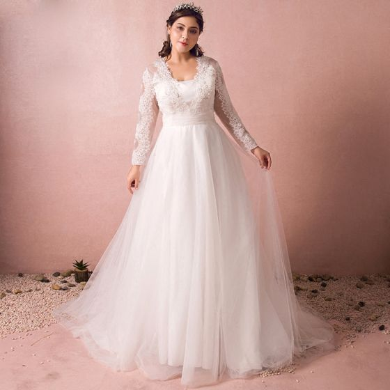 Chic / Beautiful White Wedding Dresses 2017 A-Line / Princess Long Sleeve Lace V-Neck Appliques Backless Beading Sequins Wedding