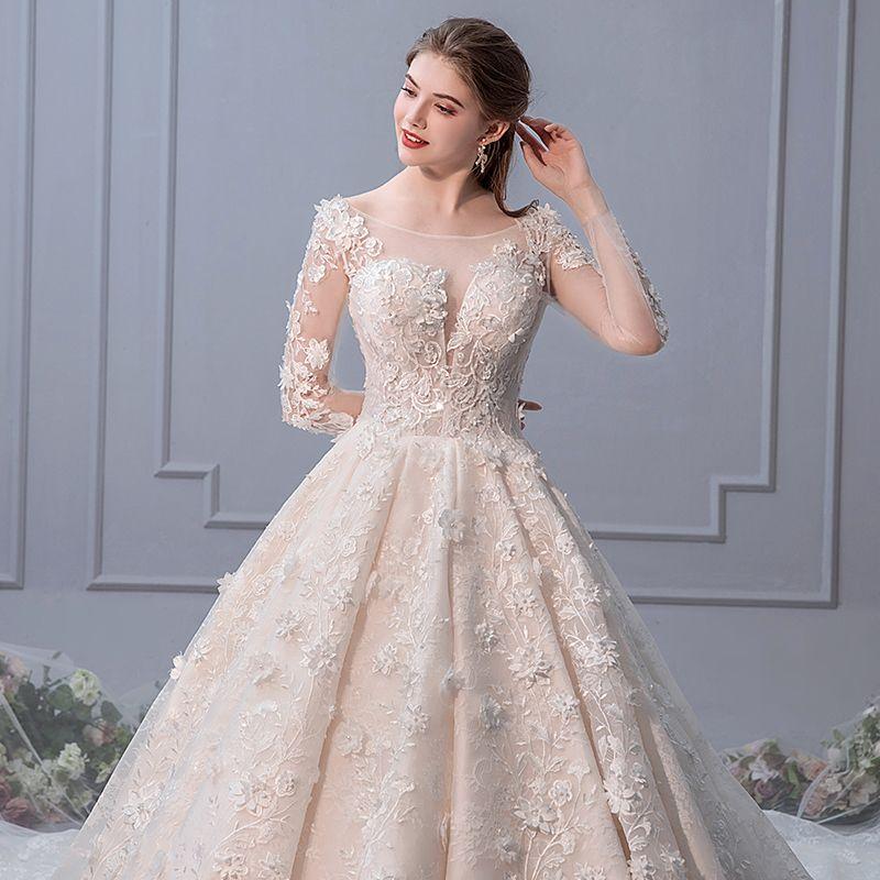 Elegant Champagne Wedding Dresses 2019 A-Line / Princess Scoop Neck Pearl Appliques Lace Flower Long Sleeve Backless Royal Train