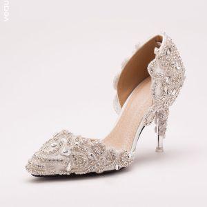 Crystal Strass Blancs Chaussures De Mariée / Chaussures De Mariage / Chaussures Femme
