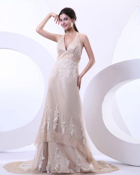 Halter Sexy V-cuello De Satén Tribunal Tul Capacitar A Un Vestido De Novia Vestidos De Novia De Línea