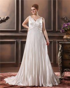 Charmeuse Perles Ruffle V Chapelle Du Cou Ainsi Que La Taille De Mariée Robes De Mariage De Robe