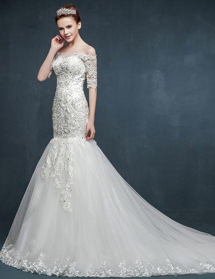 2015 Half Sleeve Word Shoulder Fishtail Lace Trailing Wedding Dress