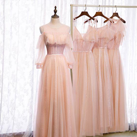 Hermoso Perla Rosada Vestidos De Damas De Honor 2020 A-Line / Princess Sin Espalda Cinturón Rebordear Glitter Tul Largos Ruffle