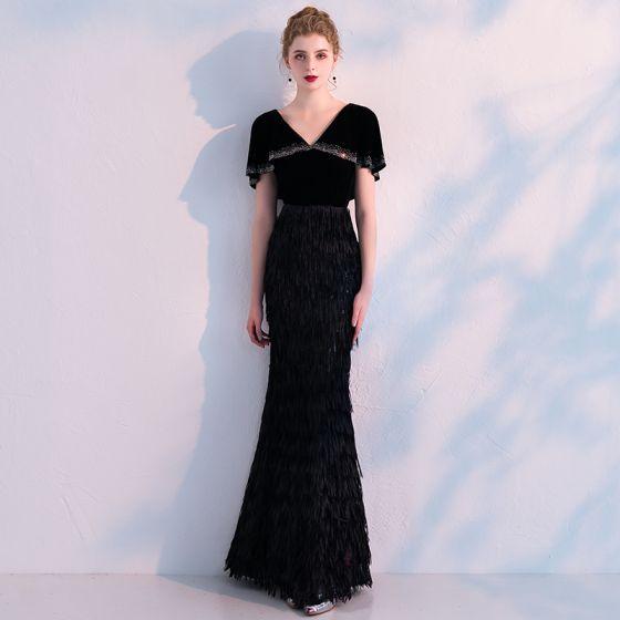 Stylowe / Modne Czarne Sukienki Wieczorowe Z Szalem 2019 Syrena / Rozkloszowane V-Szyja Rhinestone Kutas Poliester Długie Wzburzyć Sukienki Wizytowe