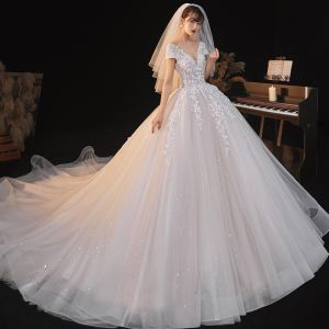 Charming Champagne Wedding Dresses 2020 Ball Gown See-through V-Neck Beading Star Sequins Lace Flower Short Sleeve Backless Royal Train