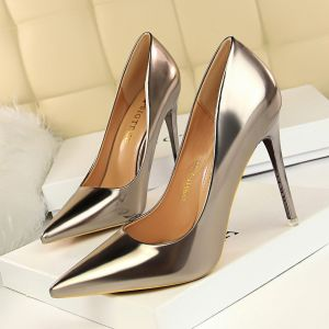 Charmant Bronze Abend Pumps 2020 Lackleder 10 cm Stilettos Spitzschuh Pumps