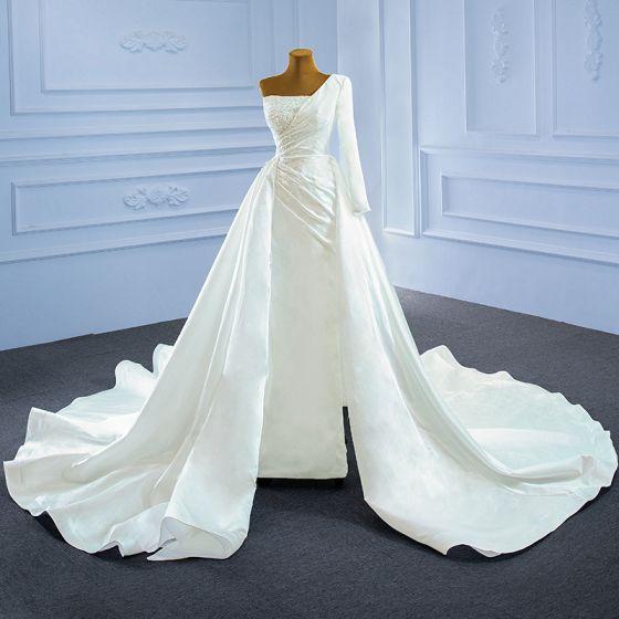 High-end Elegant Ivory Satin Wedding Dresses 2021 A-Line / Princess One-Shoulder Beading Pearl Sequins Long Sleeve Backless Cathedral Train Wedding