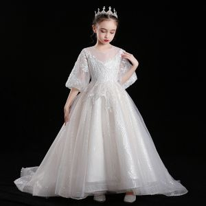 Victorian Style Champagne See-through Flower Girl Dresses 2020 Ball Gown Scoop Neck Puffy 3/4 Sleeve Appliques Lace Sequins Sweep Train