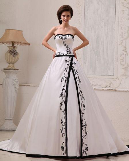 Satin Stickerei Schatz Gericht A-linie Hochzeitskleid Brautkleider