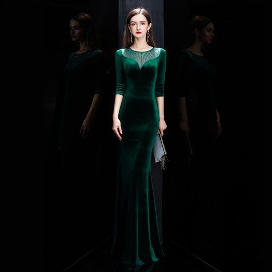 Affordable Dark Green Velour Winter Evening Dresses  2020 Trumpet / Mermaid See-through Scoop Neck 3/4 Sleeve Rhinestone Floor-Length / Long Formal Dresses