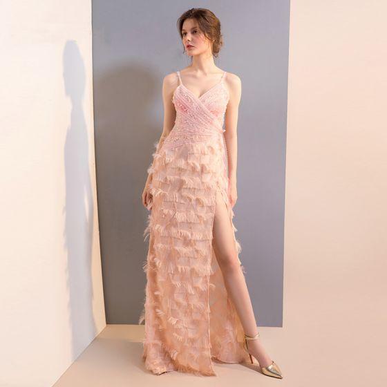 Sexy Pearl Pink Evening Dresses  2018 Trumpet / Mermaid Beading Pearl Sequins Rhinestone Tassel Split Front Spaghetti Straps Backless Sleeveless Floor-Length / Long Formal Dresses
