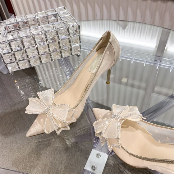 Sjarmerende Aprikos Rhinestone Sløyfe Brudesko 2020 10 cm Stiletthæler Spisse Bryllup Pumps